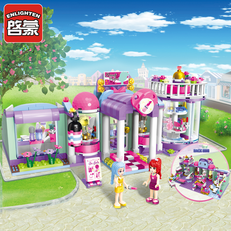 ENLIGHTEN Town Building Blocks Girl Educational Building Blocks City Friends Beauty Center House Model Blocks Toys For Children loz blocos building blocks architecture model rockefeller center toys for children forge world city house buildings bricks 1003