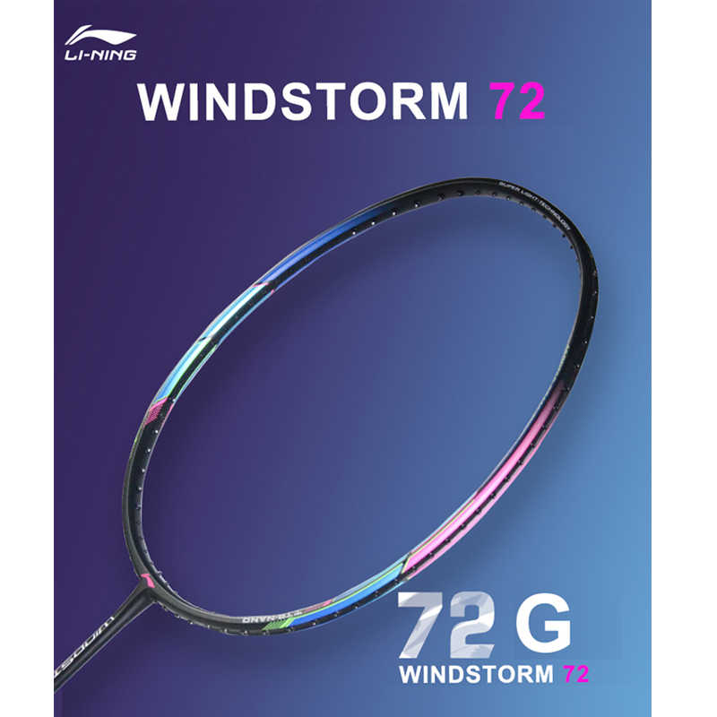 Li-Ning WINDSTORM 72 Badminton Rackets Single Racket Light Professional Carbon Fiber LiNing Rackets AYPM204