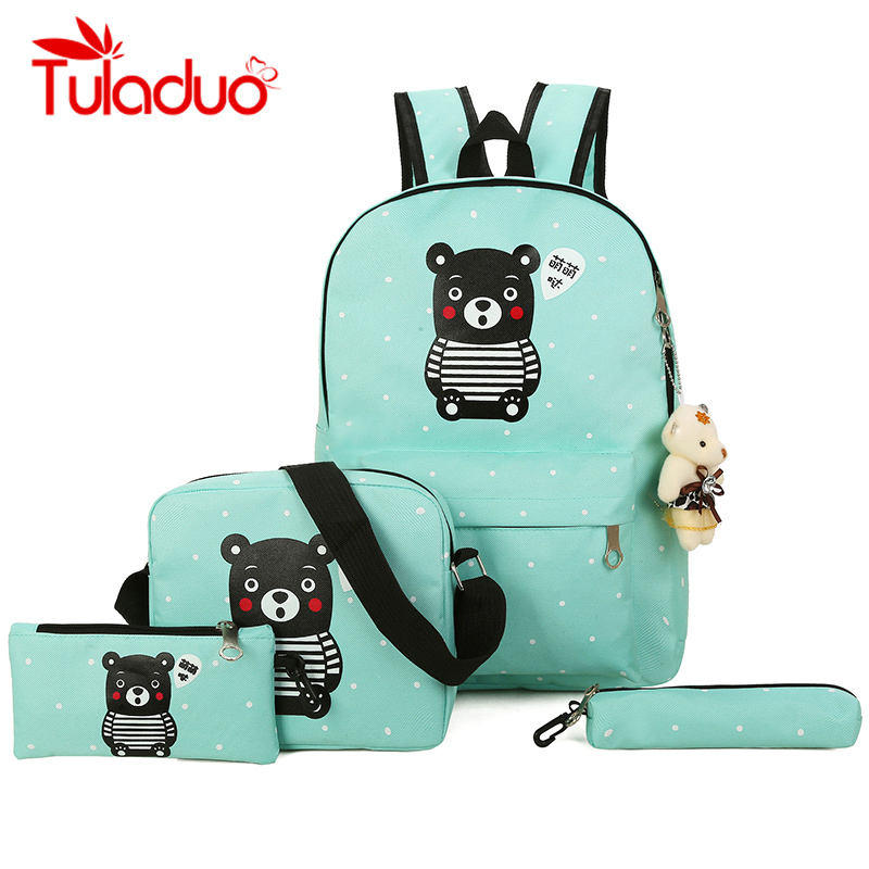 Fresh Canvas Women Backpack Big Girl Student Book Bag With Purse Laptop 4pcs Set Bag High Quality Ladies School Bag For Teenager dy0606 ladies bag 15inch women backpack suit for 14 15 notebook laptop bag student school bag travel mountaineering bag