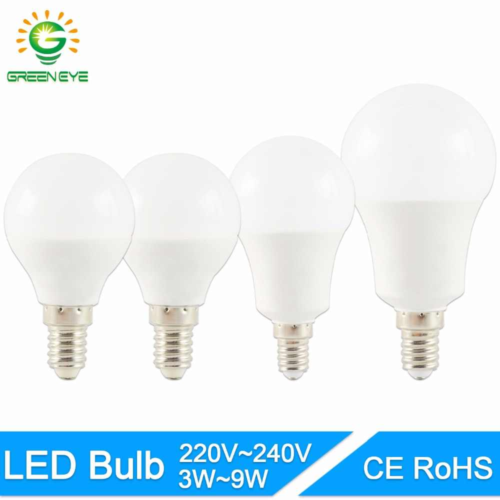 GreenEye LED Bulb lamp 2835SMD E14 3W 5W 7W 9W 220V 240V Screw Round Bulb Household High Brightness Led Spotlight Lampada
