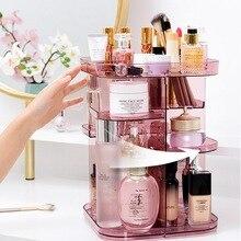 1PC Fashion 360 degree Rotating Makeup Organizer Box Brush Holder Jewelry Organizer Case Jewelry Makeup Cosmetic Storage Box