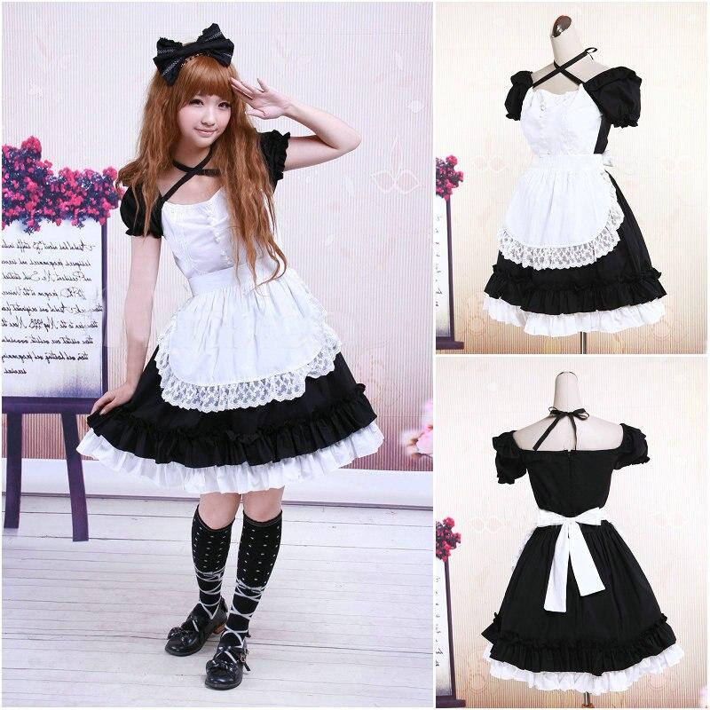 Customer to order V 1081 Black Cotton Short sleeves Gothic Lolita font b Dress b font