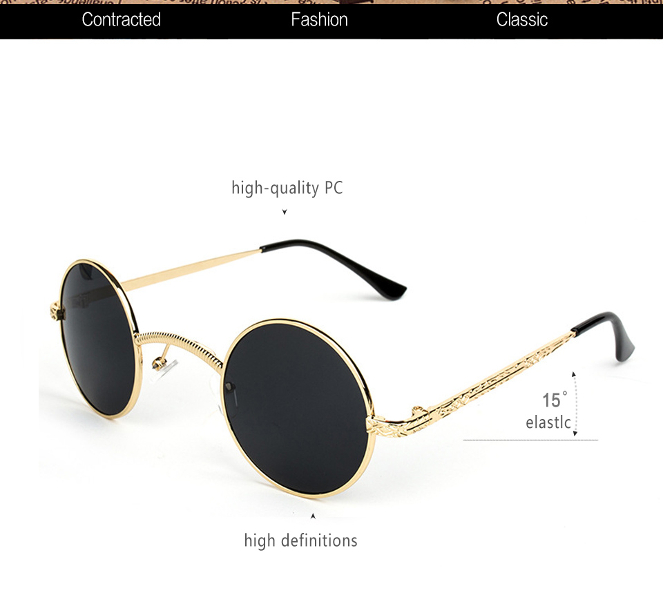 7697995024 retro steampunk sunglasses men round vintage 2018 metal frame gold black  oval sun glasses for women red male gift