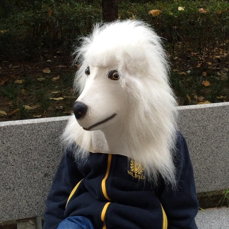 New Halloween Poodles Mask Elegant Longhaired White Pet Dog Masks Dog Head Retaining Cap High Grade Latex Animal Party Masks