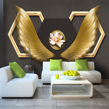 Custom wallpaper murals creative fashion angel wings wrought iron decorative wall - high-grade waterproof material
