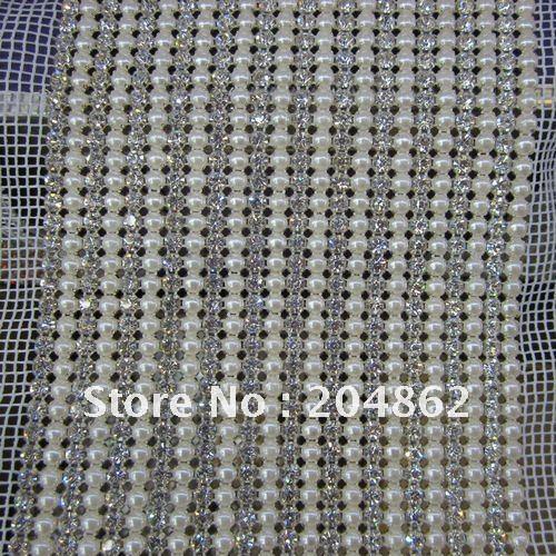 10 метров 24 линии свадебные туфли с отделкой жемчугом и прозрачными стразами в виде лента со стразами, нарядные сетчатые отделкой SS17 SS18 SS19 SS20 камни для DIY торжественное платье аксессуары