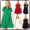 New 2015 Fashion Summer Short Sleeve Women Vestidos Lace Cocktail Party Princess Casual Dress Black Blue White Red Green Color