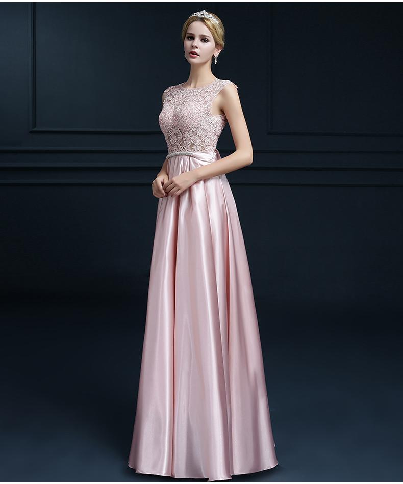 Embroidery Shoulder Straps Satin Long Evening Dress 3
