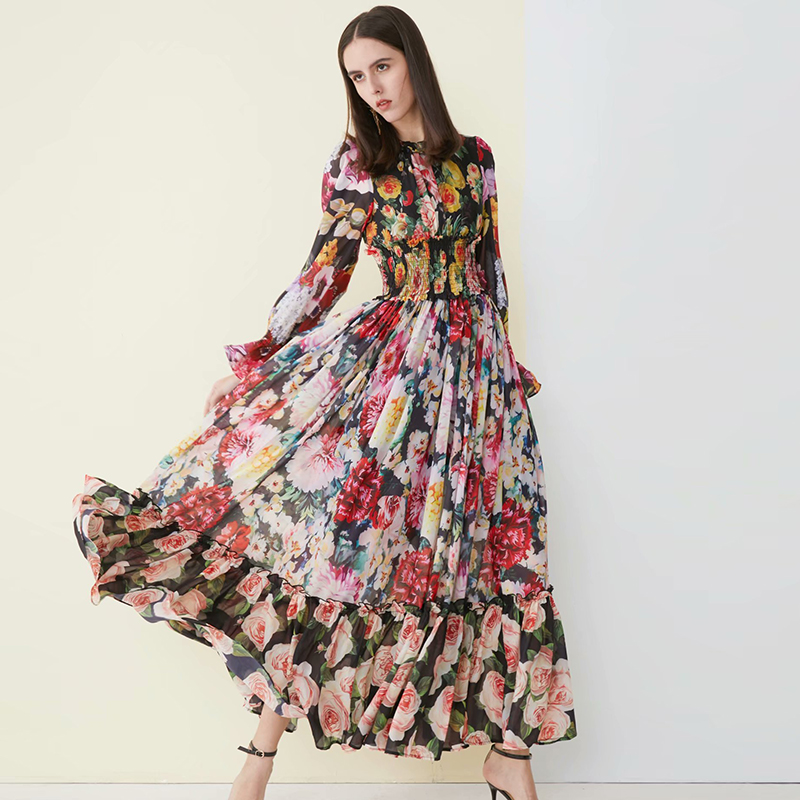 2019 Spring Print Long Dress High Quality European Sweet Full Sleeve O_neck Female Pleated Maxi Floral Dress-in Dresses from Women's Clothing    1