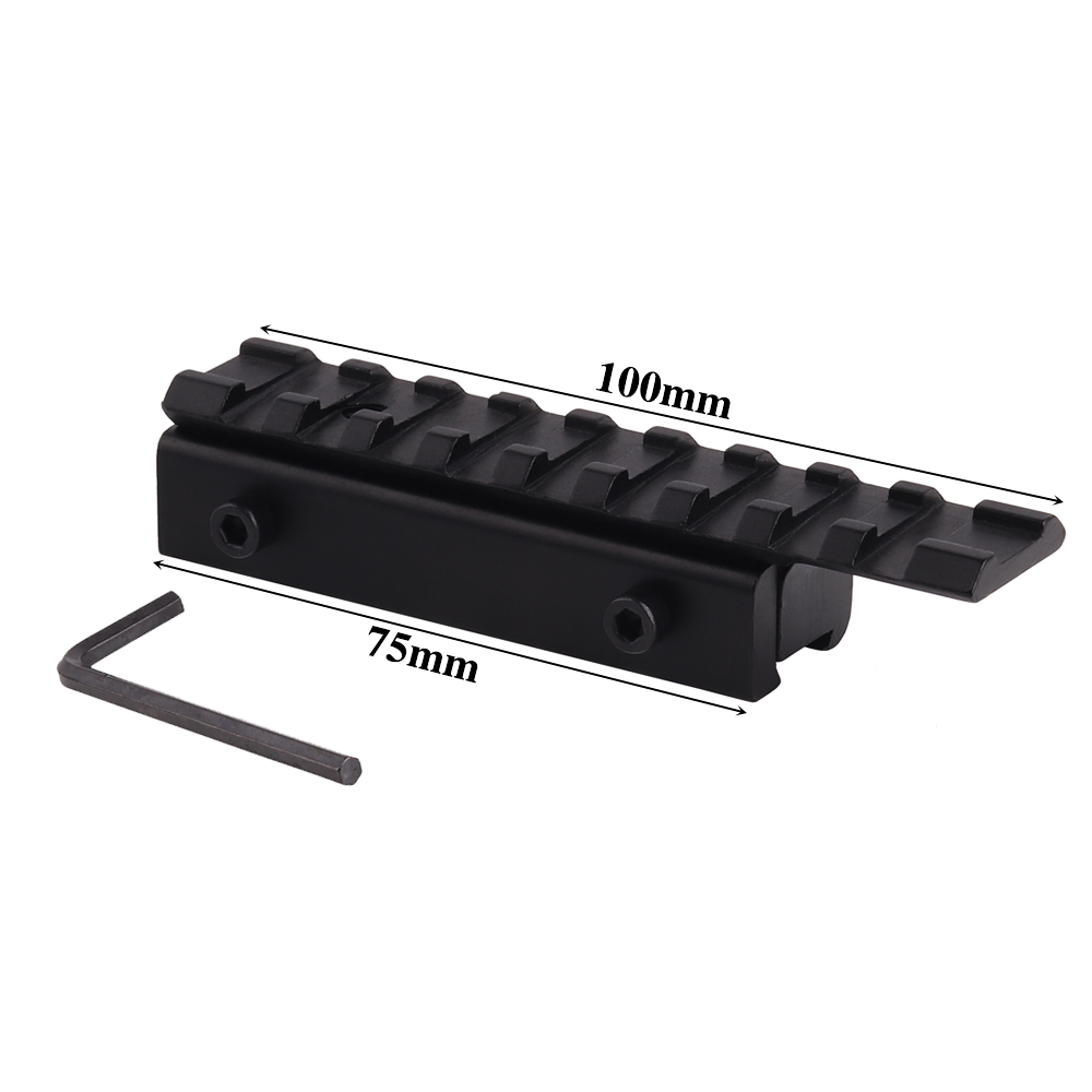 11mm to 20mm Picatinny Rail Adapter Carril Weaver Rail with 9 Slots and 100mm Length for Hunting Rifle Air Gun Scope Mount