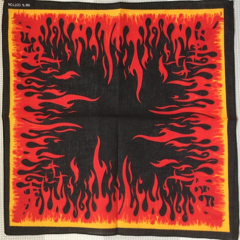 100% Cotton Strong flame kerchief Punk Hip Hop Bandana Headwear/Hair Band   Scarf   Neck Wrist   Wrap   Band Headtie For Women/Mens/Boys