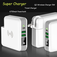 Super Charger 6700mah Qi Wireless Charger Powerbank Portable Type C Travel Charger 15W USB Wall Charger for iPhoneX 8 Samsung S8