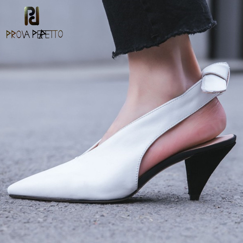 Prova Perfetto New Pointed Toe Women Pumps Shoes Spike Heels Heelpiece Hollow Single Shoes Mujer Real Leather Mid Heels Shoes