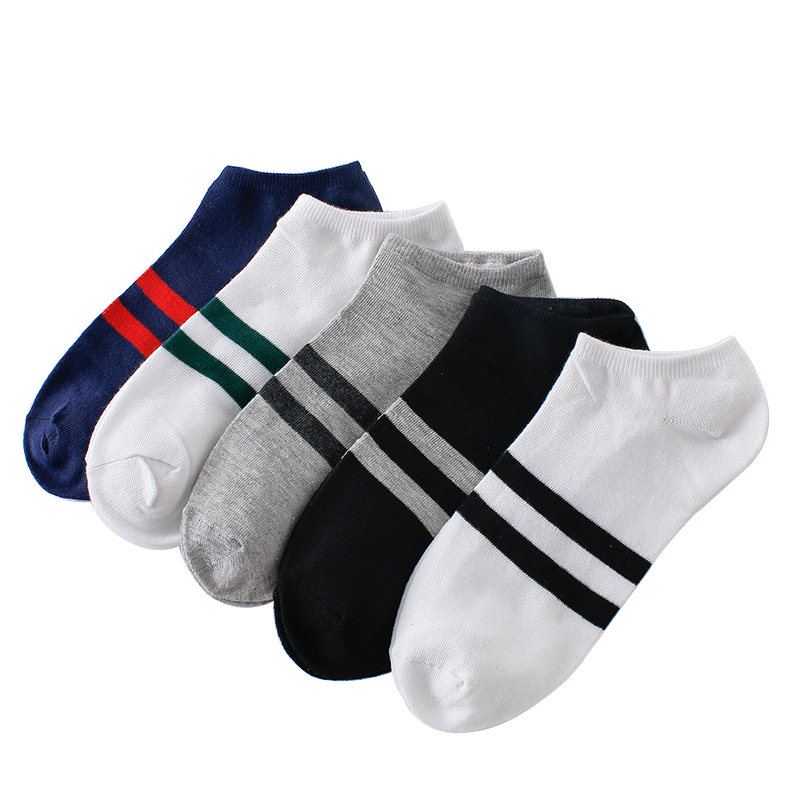 10pcs=5pairs Men's   Socks   Cotton Stripe Boat   Socks   All Seasons Spring Autumn Male Casual Harajuku Breathable Men Ankle   Sock   Meias