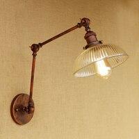 Retro Loft Industrial Wall Glass Lampshade LED Bulb Free Adjust Metal Long Swing Arm For Living