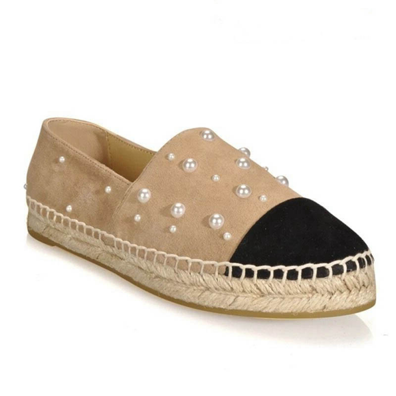 Luxury Women Flats Platform Loafers Ladies Elegant Pearls Genuine Suede Leather Womens Espadrilles Slip On Casual Driving Shoes