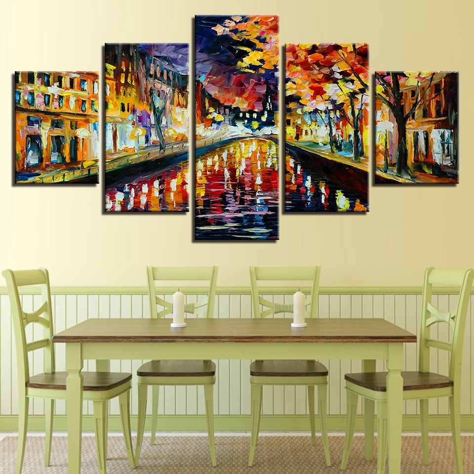 Modern Wall Art Canvas Prints Modular Painting 5 Panel Color Tree ...