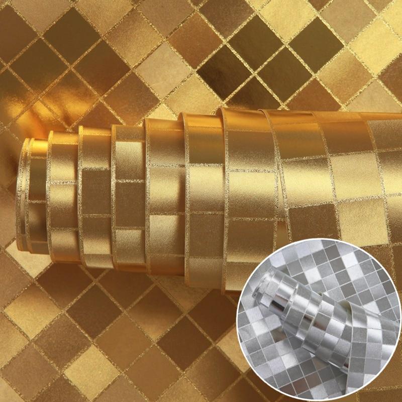 Mosaic reflective waterproof gold foil sliver foil living room wall paper background wallpaper