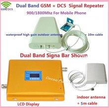 1 КОМПЛ. ЖК-Усилитель с Высоким Коэффициентом Усиления Dual Band Мобильного Телефона 2 Г 4 Г Усилитель Сигнала GSM 900 DCS 1800 мГц сотовый Ретранслятор Сигнала усилитель