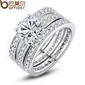 Люксовый бренд Bamoer мода платиновым покрытием свадебный комплект кольцо для женщин с искусственным микро циркон кристалл свадебные ювелирные изделия YIR031