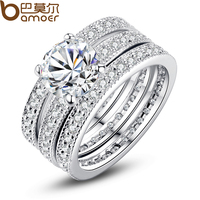 Luxury Brand Bamoer Fashion Platinum Plated Bridal Set Ring For Women With Paved Micro Zircon Crystal