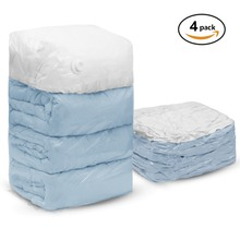 4 PCS Cube Vacuum Storage Bags Jumbo Extra Large Compressed Space Saver for Pillows Comforter Work with All Cleaner