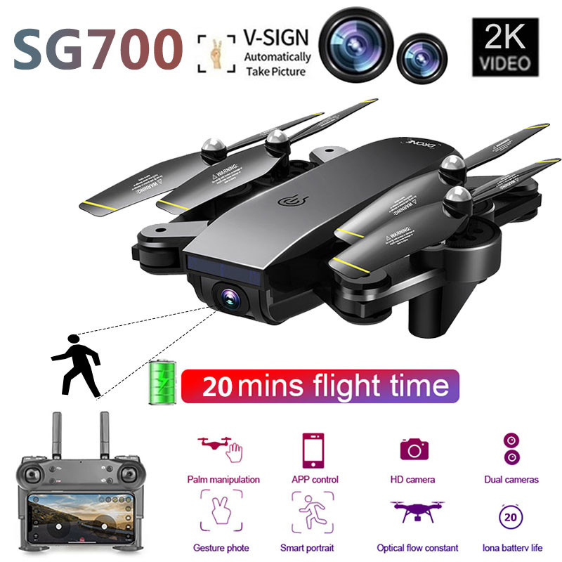 NEW SG700-D Drone 2 4Ghz 4CH Wide-angle 2K Optical Flow Dual Camera RC Helicopter RC Quadcopter Selfie Drone with Camera HD