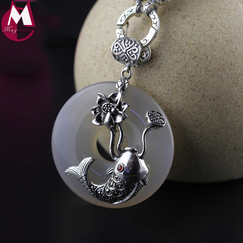 Luxury White Jade Pendants 100 925 Sterling Silver Necklaces Women Vintage Fish Fine Lotus Flower Plant