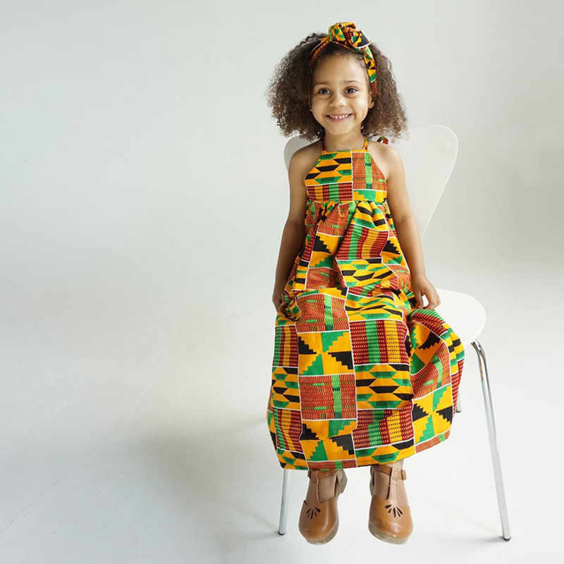 2019 new summer elegent fashion style african children printing polyester plus size small girl dress
