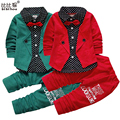 1-4yrs moda Primavera estilo gentleman niños que arropan muchachos fijados ropa del bebé falso de tres piezas de ropa niños trajes traje