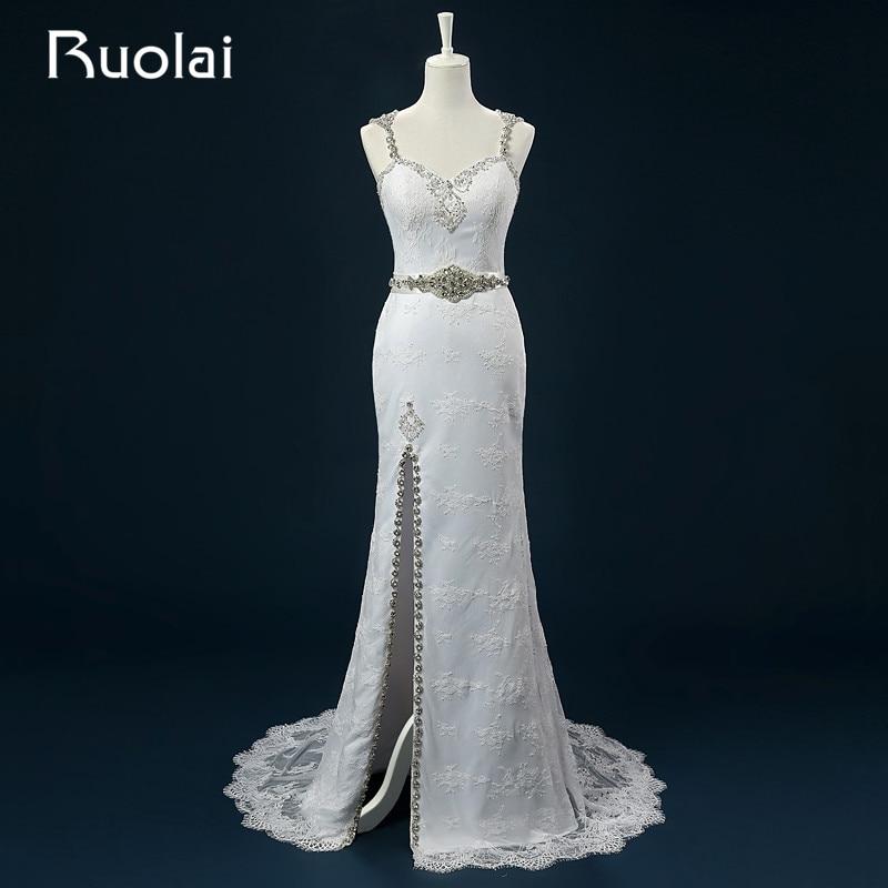Stvarno dobre kvalitete Slatka trake čipke Beaded krila Visoka proreza vjenčanicu Long svadba haljina Vestido de Novia Vjenčanje ASAFN50