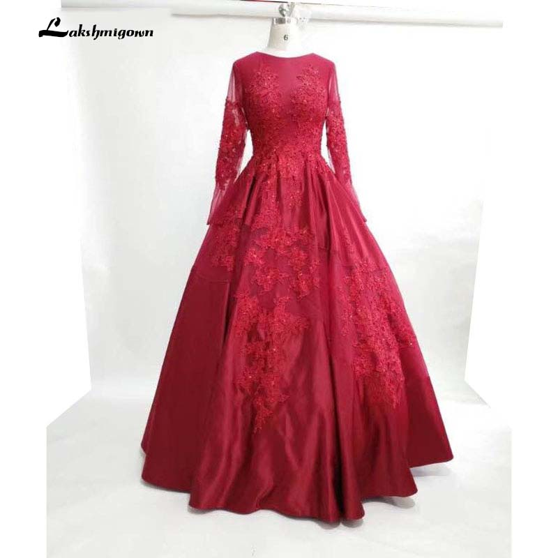 Long sleeves burgundy Evening Dresses Ball Gown Prom Party Gowns ...