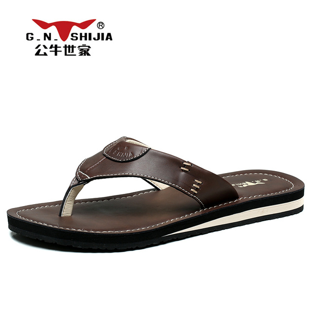 Hombre Natural Slippers  Leather Slippers Natural Flip Flops Summer Beach Zapatos Sandals Marrón Negro df30a2