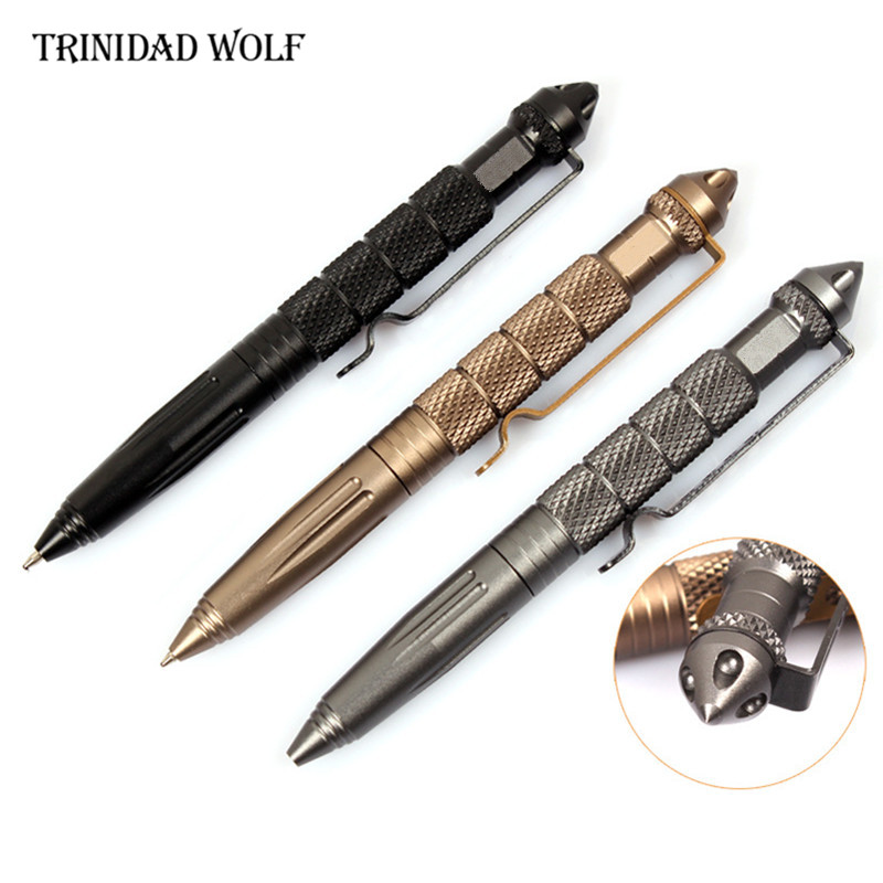 TRINIDAD WOLF B2 Portable Tactical Pen Aviation Aluminum Anti-Skid Self Defense Tool Tactical Pen Self Defense Glass Broken Pen self defense pen portable multipurpose aluminum anti skid tactical emergency glass breaker outdoor travel camping hiking tool