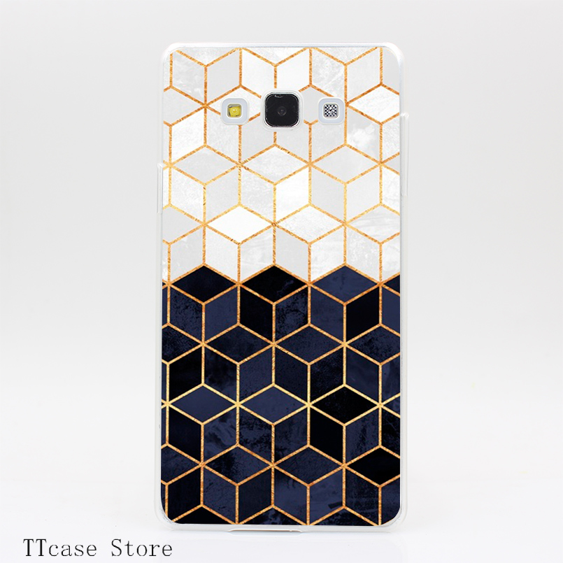 4042CA White and Navy Cubes Transparent Hard Cover Case for Galaxy A3 A5 A7 A8 Note 2 3 4 5 J5 J7 Grand 2 & Prime