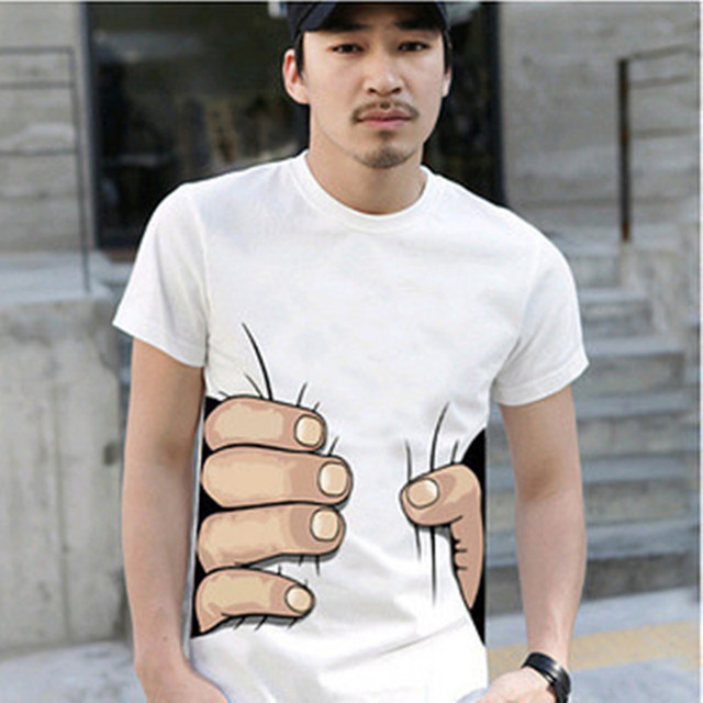 f4f5464709f 2016 hot selling men s clothing fashion Summer 3 to choose Men Great  personality Spoof Grab your Big hand print T-shirt