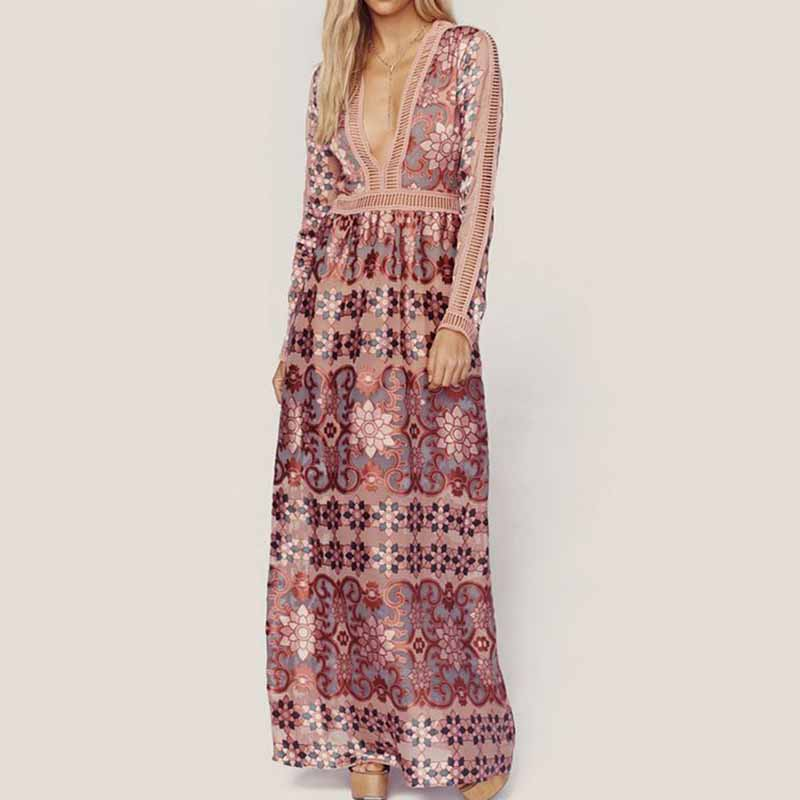 Bohemian Maxi Dress Women Floral Print Long Sleeve Boho Chiffon Dress Deep V Neck High Waist Hollow Out Pink Lace Sexy Dresses