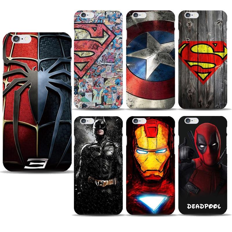 best website 9f807 5717d Superhero Collection Deadpool Spiderman Phone Capinhas Iphone 8 7 6S Plus  5SE Ironman Batman Marvel Covers Accessories