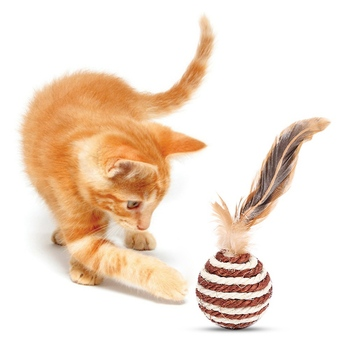 Juguetes de pelota de Sisal de Gato con plumas, bola rodante tejida de colores, juguete sonajero de gatito para golpear y atraer a los gatos