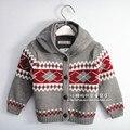 Внешняя Торговля Осенью и Зимой детские 100% Хлопок С Капюшоном Вязаный Шерстяной Свитер Европейский Стиль Детские Младенческой Дети Трикотажа G498