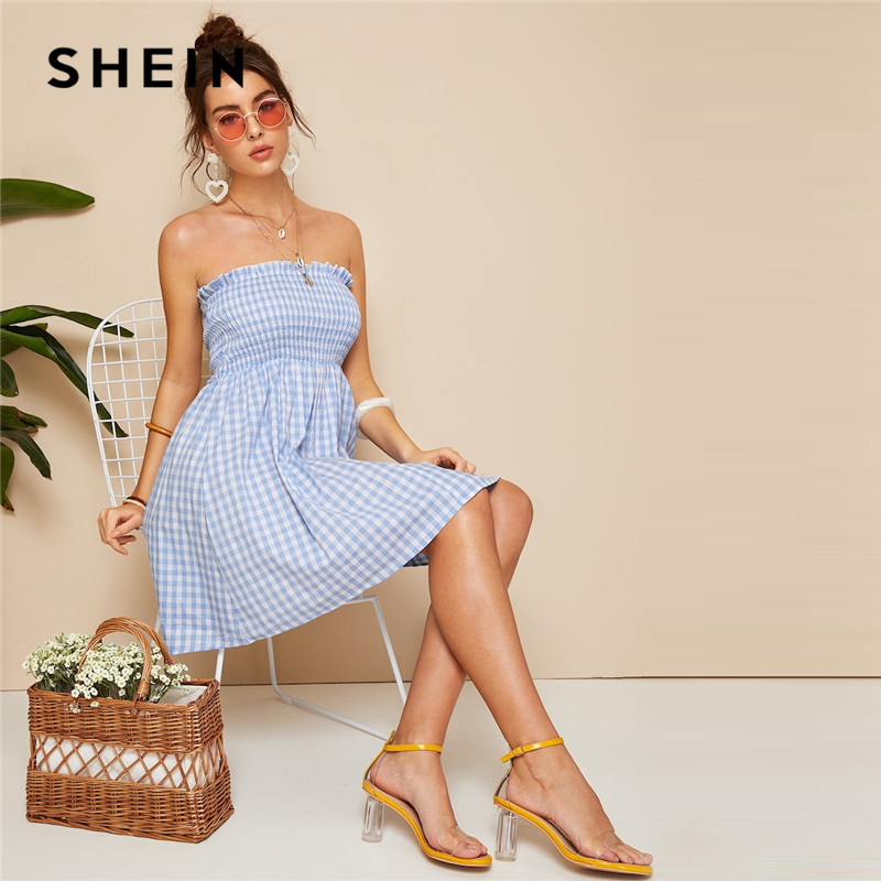 SHEIN Blue Plaid Tube Summer Boho Dress 07190116395