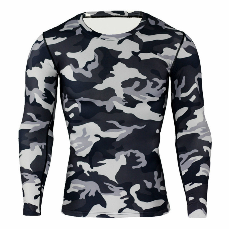 Mens Clothing Camouflage quick-drying compression Clothing long-sleeved men T-shirt