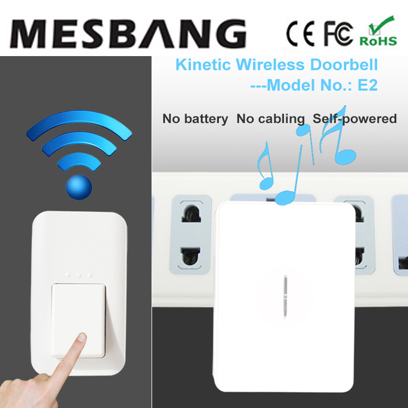 New 2017 no need battery and cable to install with  EU US  UK power adapter Waterproof DoorBell Wireless 433hmz with Chime cacazi wireless cordless doorbell remote door bell chime one button and two receivers no need battery waterproof eu us uk plug