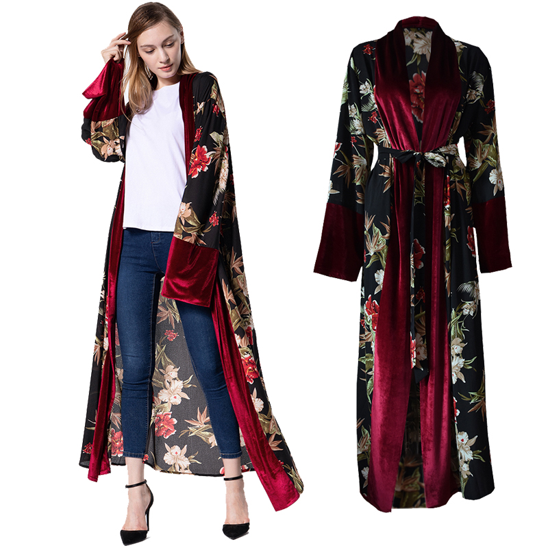 Womens Boho Floral Dress Beach Cardigan Outwear Muslim Print Abaya Kimono Robes
