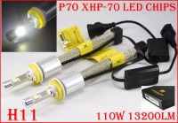 Newest 1 Set H11 P70 Cre 6600LM 110W LED Headlight Conversion Kit XHP 70 Driving Fog Lamp Bulb H7 H8 H9 H4 H16(JP) 9006 H13 9007