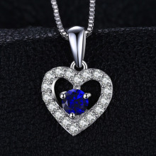 Love Heart 0.6ct Created Blue Spinel Pendant 925 Sterling Silver Does Not Include a  Chain Fashion for Women
