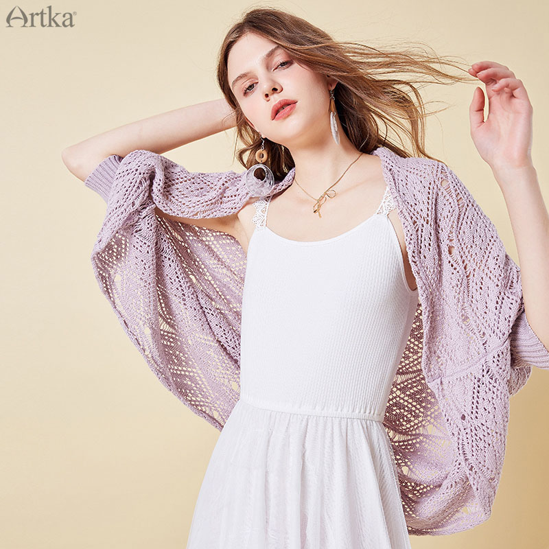 ARTKA 2019 Spring New Women Thin Coat Cotton Solid Color Loose Casual Hollow Knitting Coat Female