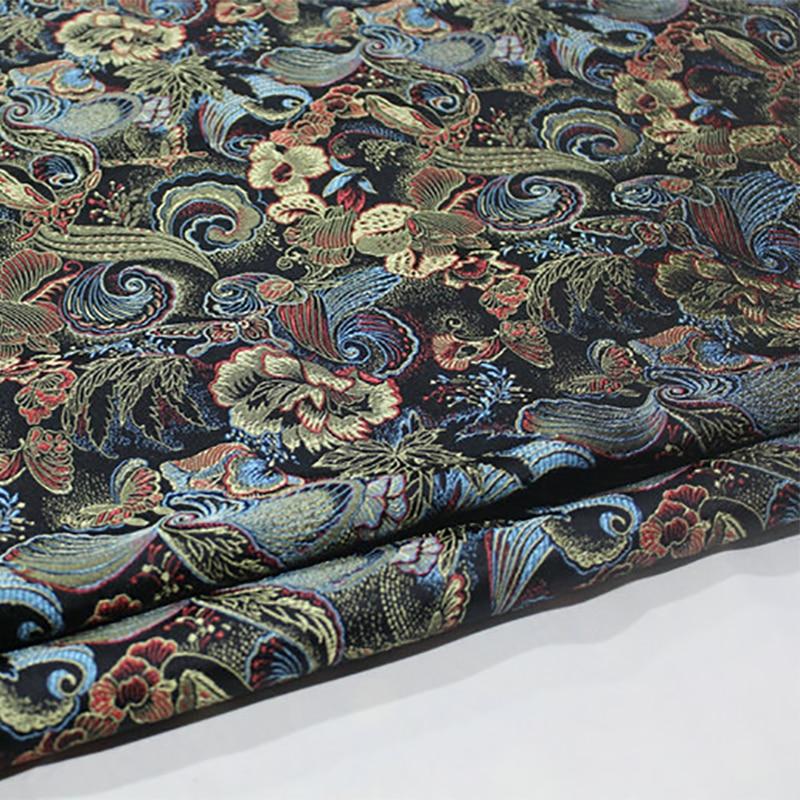 HLQON 75cm width brocade yarn dyed black fabric for patchwork felt tissue telas bed sheet children cloth coat cheongsam dress