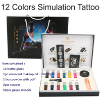 12 Color Temporary Tattoo Template Pattern Body Art Condensate Liquid Kit Different Colors Simulated Tattoo Set High Quality