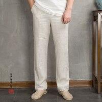 2018 Summer Loose Mens Trousers Pure Color Cotton and Linen Pants Men Cool Breathable Drawstring Pants Man